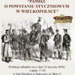 Plakat na prelekcje powstańczą w Buku na 23 stycznia 2020