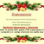 Plakat na spotkanie z seniorami na 23 stycznia 2020