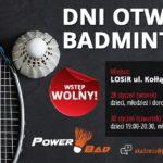 Plakat dni badmintona na 28 i 30 stycznia 2020