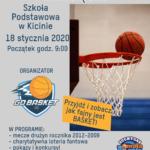 Plakat na turniej koszykówki w Kicinie na 18 stycznia 2020