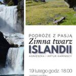 Plakat o podróżach na Islandię na 19 lutego 2020