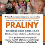 Plakat warsztatów pralin na 12 lutego 2020
