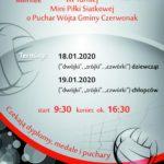Plakat na zawody siatkówki na 18 i 19 stycznia 2020