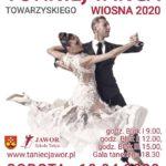 plakat międzynarodowego turnieju tańca towarzyskiego 18 kwietnia 2020 od godz. 9 w hali GOS Suchy Las