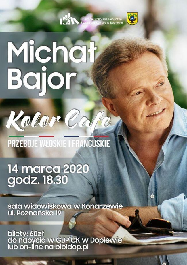 plakat zapowiadający występ MIchałą Bajora 14 marca 2020 godz. 18:30 w Konarzewie