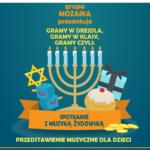 Plakat spotkania z muzyką żydowską - przedstawienie muzyczne dla dzieci w sali konferencyjnej hali widowiskowo-sportowej w puszczykowie 19 lutego 2020 godz. 17