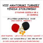 Zaproszenie na amatorski turniej tenisa stołowego 29 lutego godz 14