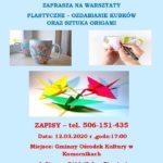 Zaproszenie na warsztaty plastycze - ozdabianie kubków oraz sztuka Origami, 12 marca 2020 godz. 17