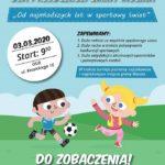 Plakat turnieju sportowego dla przedszkoli gminy Mosina który odbywa się 3 marca 2020 o godz. 9:30, miejsce: OSiR. Grafika ukazuje chłopca i dziewczynkę grających w piłkę nożną