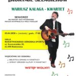 """plakat koncertu """"Koktajl Szlagierów"""" - Mariusz Kalaga kwartet. Koncert 5 kwietnia 2020 o godz. 17 w Hali Rokietnickiego Ośrodka Sportu"""