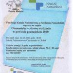 palakt zapraszający na zajęcia z gimnastyki w powiecie poznańskim. Początek zajęć 2 marca 2020 godz. 18 w SP w Czerwonaku przy ul. Rolnej