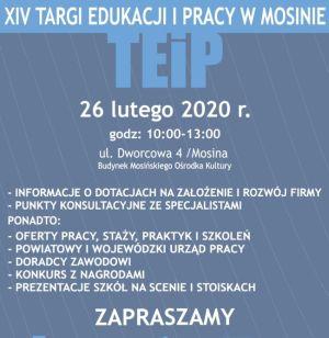 Plakat zapowiadający Targi Edukacji i pracy w Mosinie 26 lutego 2020 w godz. 10-13 w Mosińskim Ośrodku Kultury
