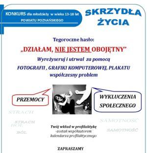 plakat konkursu Skrzydła Życia Tegoroczne hasło: Działam, nie jestem obojętny.