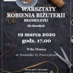 Plakat warsztatów robienia biżuterii dla dorosłych na 19 marca 2020