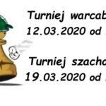 Plakat turnieju warcabowego na 12 i 19 marca 2020