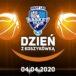 Plakat na dzień z koszykówką na 4 kwietnia 2020