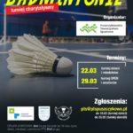 Plakat zawodów badmintona w Puszczykowie na 22 i 29 marca 2020