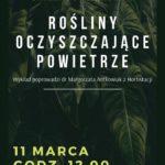Plakat wykładów oczyszczjących powietrze w Luboniu na 11 marca 2020