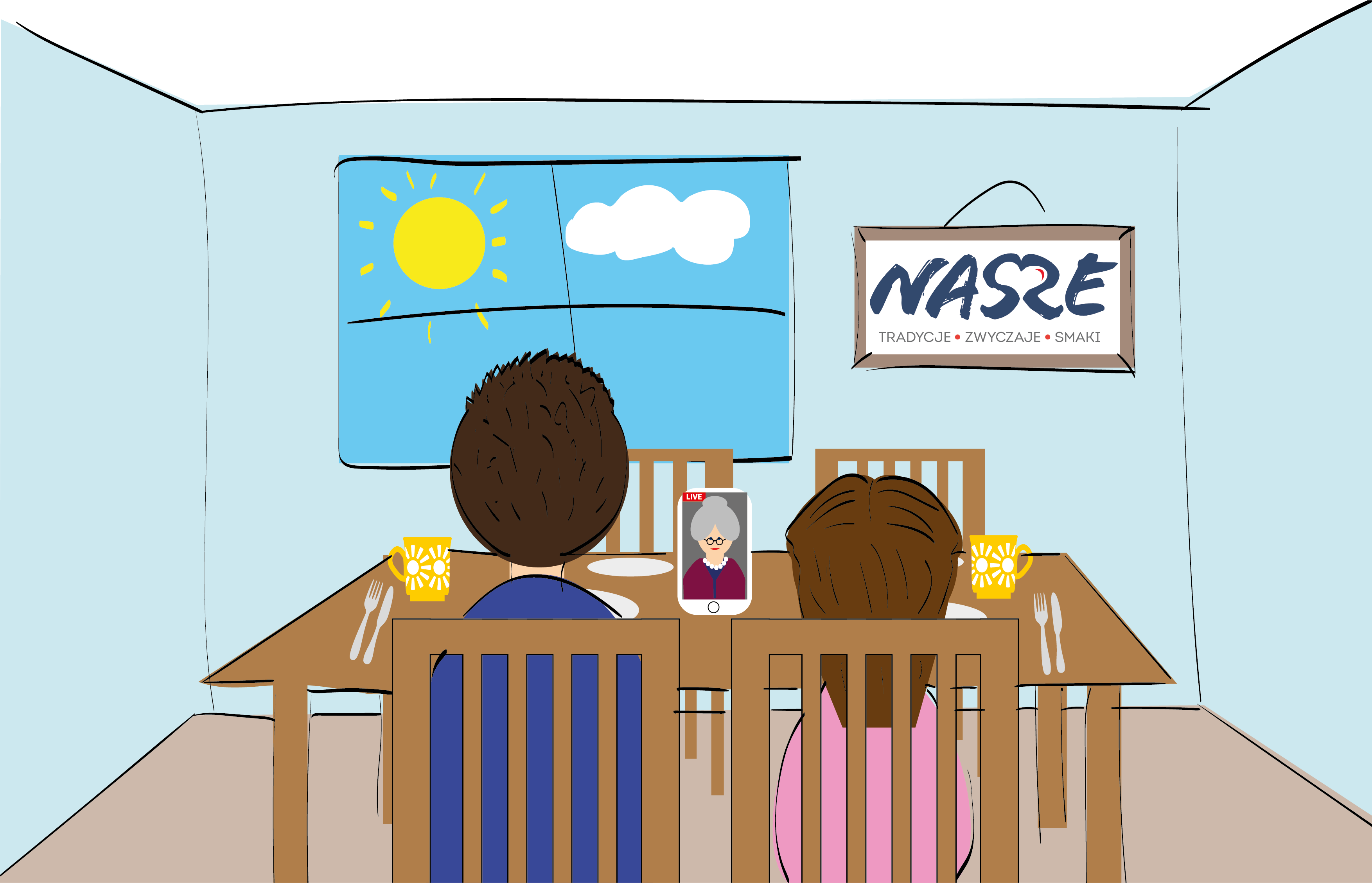 tata z córką siedzący przy nakrytym stole, spożywają posiłek razem z babcią, z którą są na wideokonferencji