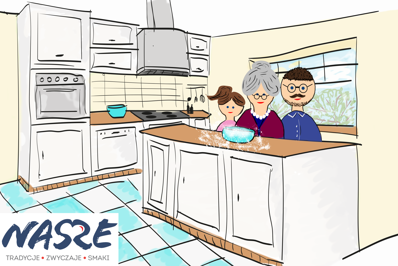 grafika ukazująca wielopokoleniową rodzinę gotującą w kuchni