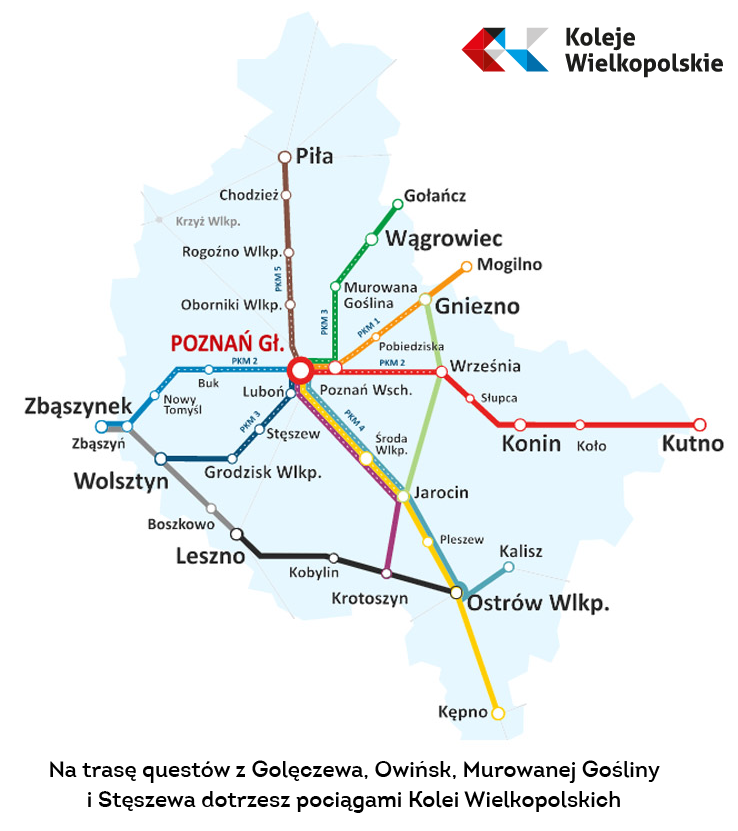 mapa tras pociągów kolei wielkopolskich