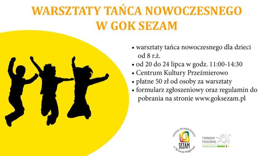 plakat Warsztaty tańca nowoczesnego dla dzieci i młodzieży