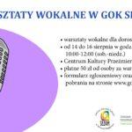 plakat Warsztaty wokalne dla dorosłych w Przeźmierowie