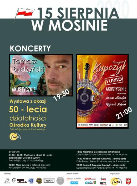 Plakat koncertu muzycznego w Mosinie na 15 sierpnia 2020