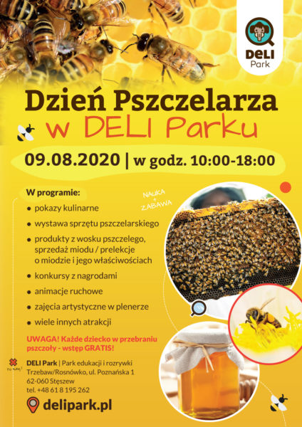 plakat dzień pszczelarza w deli parku 9 sierpnia 2020 roku od 10:00 zółta grafika ze zdjęciami pszczół