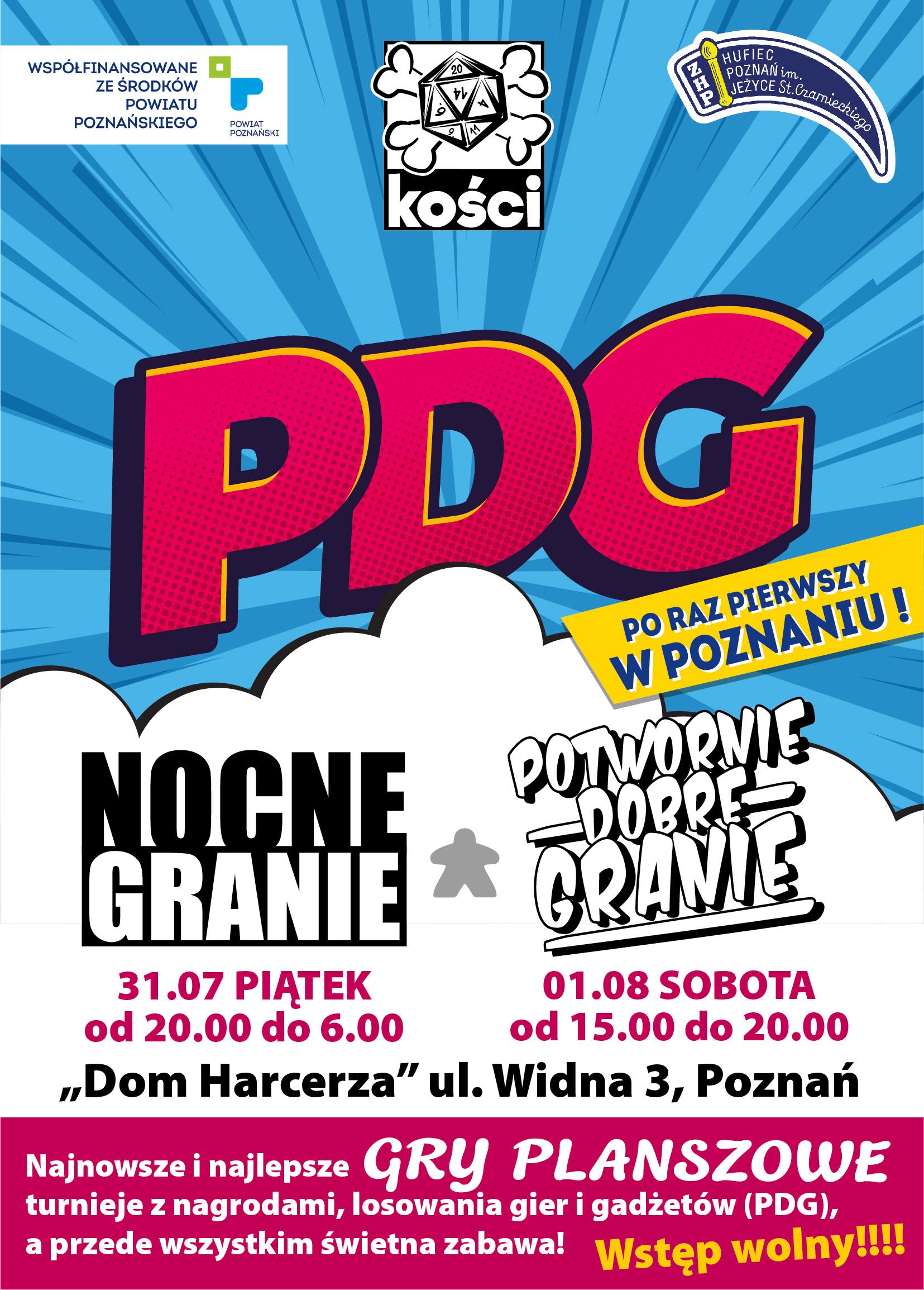 Plakat imprezy z grami planszowymi na poznańskim Placu Wolności w dniacg 31 lipiec i 1 sierpień 2020