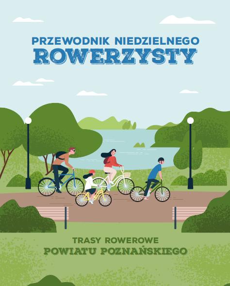 okładka Przewodnik Niedzielnego Rowerzysty. Na ilustracji rodzina na wycieczce rowerowej, w tle jezioro.