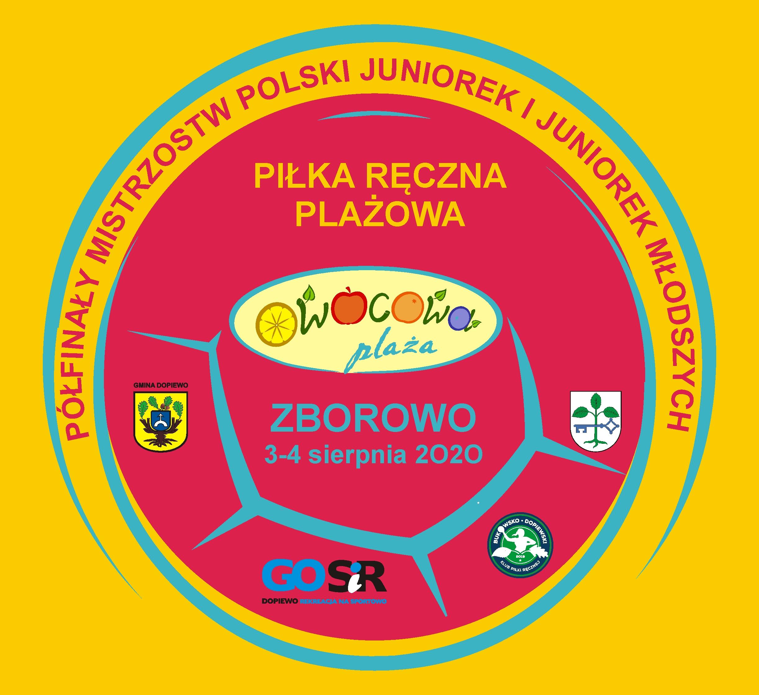 Logo półfinału Mistrzostw Polski w piłce ręcznej plażowej na 3 i 4 sierpnia 2020