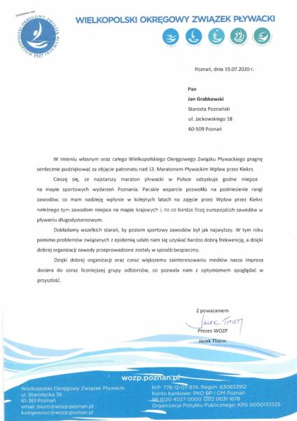 Podziękowanie od Wielkopolskiego Okręgowego Związku Pływackiego za objęcie patronatu nad 53. Maratonem Pływackim Wpław przez Kiekrz