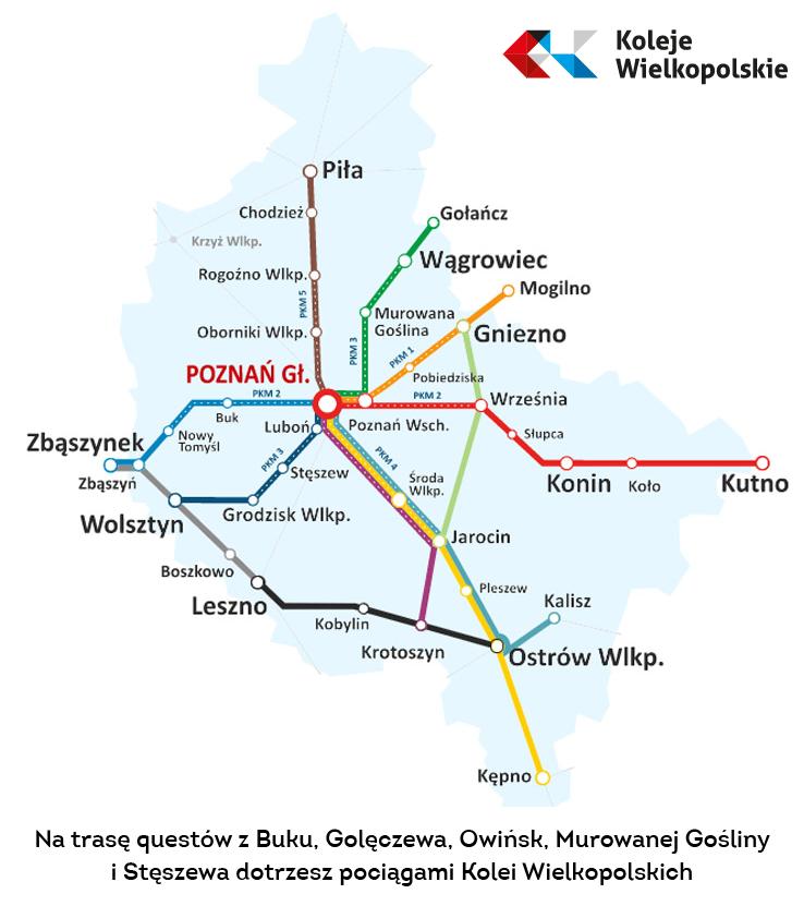 mapa połączeń kolei wielkopolskich z napisem: Na trasę questów z Buku, Golęczewa, Owińsk, Murowanej Gośliny  i Stęszewa dotrzesz pociągami Kolei Wielkopolskich