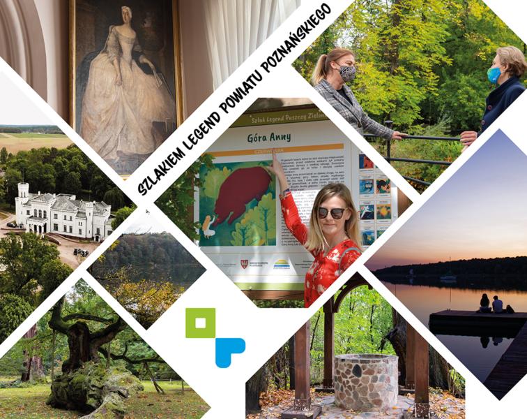 kolaż zdjęć ukazujące miejsca na szlaku legend - Zamek w Kórniku, Jezioro Swarzędzkie, Studnia Napoleona, Uzarzewo, Dęby Rogalińskie