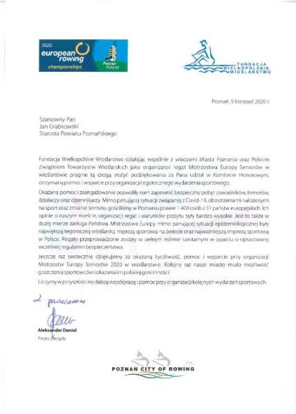 Podziękowania za wsparcie Mistrzostw Europy w wioślarstwie Poznań 2020