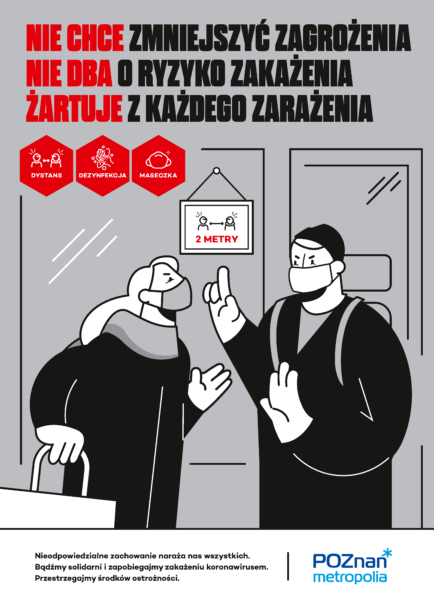plakat informacyjny Metropolii Poznań ukazujący osobę nie zachowującą dystansu 2 metrów