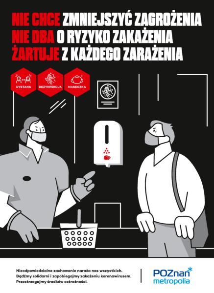 plakat informacyjny Metropolii Poznań ukazujący osobę niechętną do dezynfekcji rąk