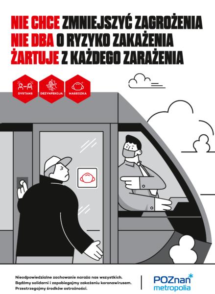 plakat informacyjny Metropolii Poznań ukazujący osobę wsiadającą do tramwaju bez maseczki