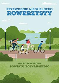 okładka Przewodnika Niedzielnego Rowerzysty - rowerzyści na ścieżce rowerowej, jezioro w tle