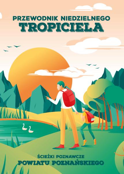 okładka Przewodnika Niedzielnego Tropiciela ukazująca turystów na szlaku na łonie przyrody