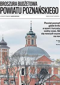 okładka broszury budżetowej powiatu poznańskiego - na zdjęciu klasztow w Owińskach