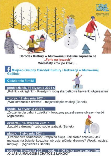 Plakat ferii zimowych w Murowanej Goślinie