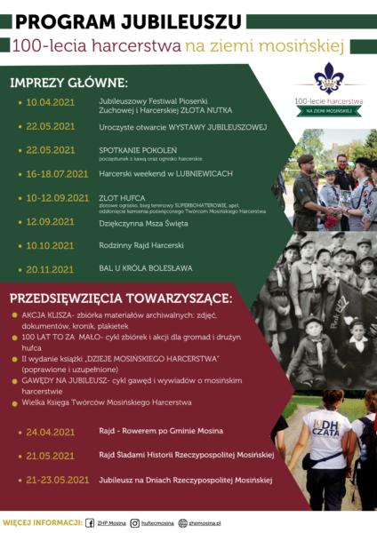 Program obchodówstulecia harcerstwa w Mosinie