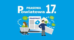 główka Prasowej17. ukazująca logo gazety z grafiką dwójki ludzi czytających artykuły