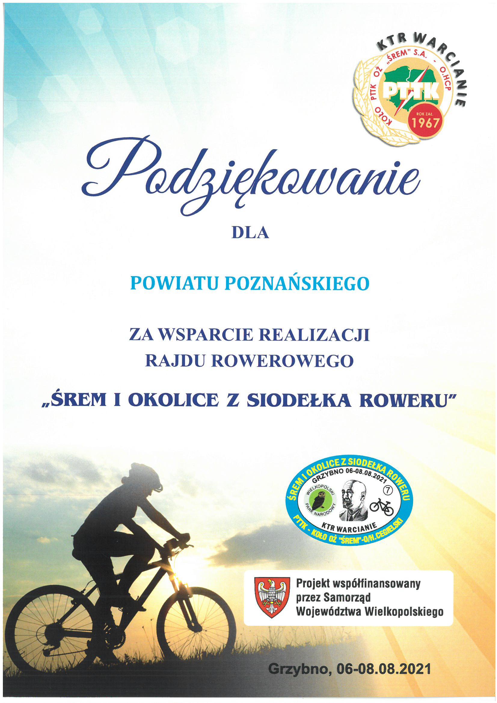 podziękoiwanie dla powiatu za wsparcie rajdu rowerowego