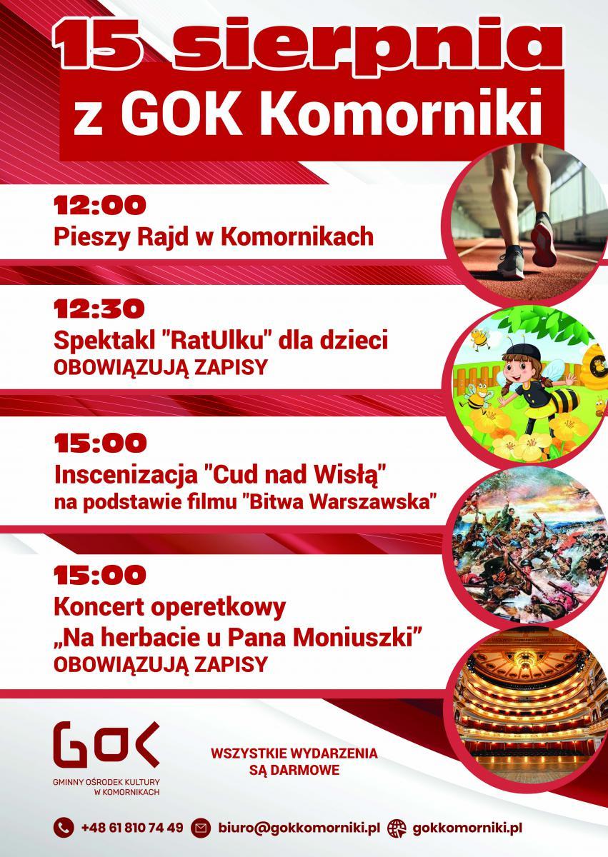 Afisz 15 sierpnia z GOK Komorniki
