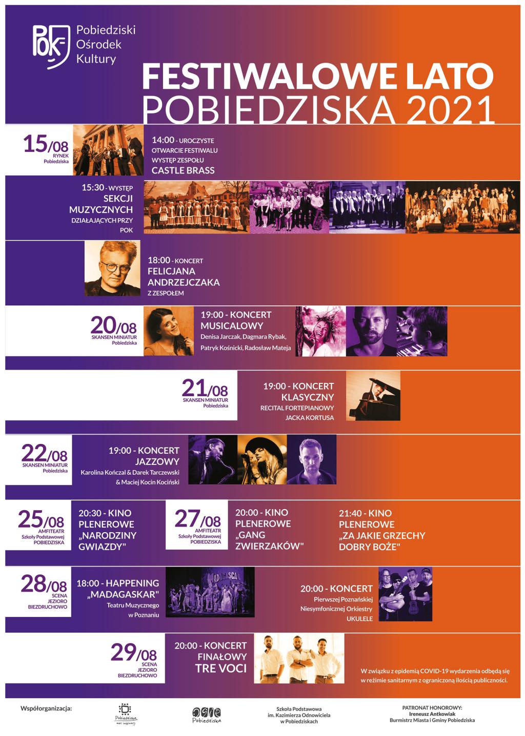 Festiwalowe Lato Pobiedziska 2021 afisz