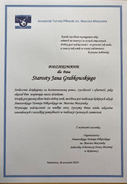 Podziękowanie dla starosty poznańskiego Jana Grabkowskiego za wsparcie realizacji amatorskiego turnieju piłkarskiego